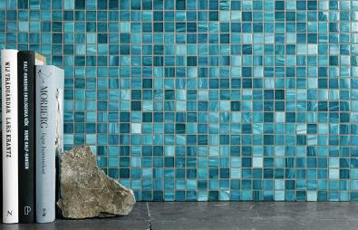 A0415 Glasmosaik Blå melerad