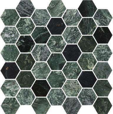 U Hexagon Medium Green Marble Polished 5x5 cm
