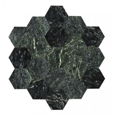 U Hexagon Large Green Marble Polished