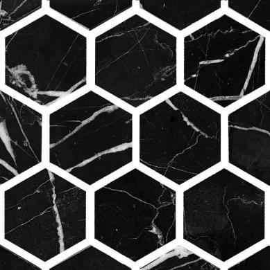 O0101 Marmor hexagon polerad svart
