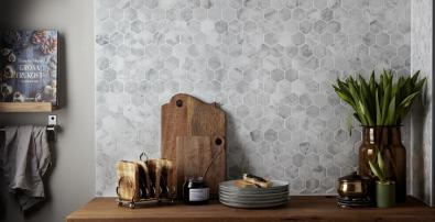 O0001 Marmor hexagon polerad vit